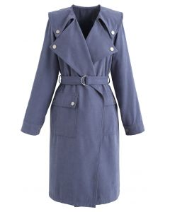 Wildleder Pocket Belted Trenchcoat in Blau