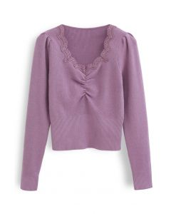 Sweetheart Lace Neck Knit Top in Lila