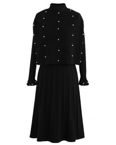 Pearl Trim Plissee Strick Twinset Kleid in Schwarz