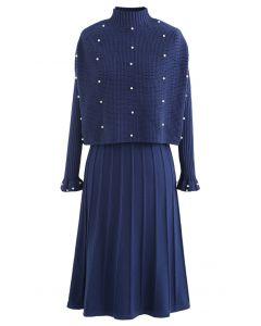 Pearl Trim Plissee Strick Twinset Kleid in Indigo
