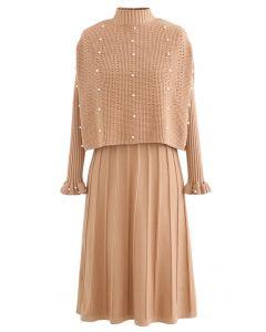 Pearl Trim Plissee Strick Twinset Kleid in Aprikose