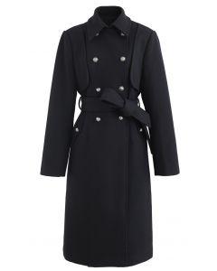 Schwarzer zweireihiger Longline-Mantel aus Wollmischung