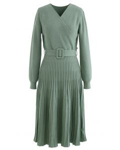 Belted Wrap Rib Knit Midi-Kleid in Grün