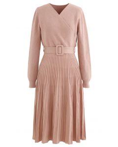 Belted Wrap Rib Knit Midi-Kleid aus Koralle