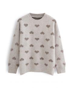 Kontrastfarbe Fuzzy Hearts Strickpullover in Taupe
