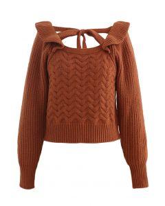 Square Neck Braid Ribbed Crop Sweater aus Karamell