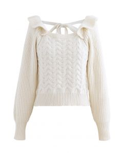 Square Neck Braid Ribbed Crop Sweater aus Elfenbein