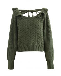 Square Neck Braid Ribbed Crop Sweater in Grün