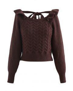 Square Neck Braid Ribbed Crop Sweater in Braun