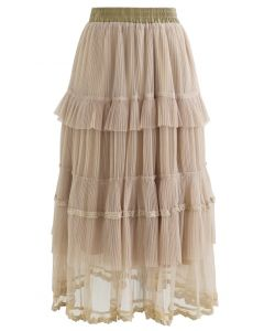 Double-Layered Tiered Pleated Midi Skirt in Sand