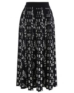 Floret Pleated Knit Midi Skirt in Black