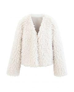 Offene Front Fluffy Faux Fur Crop Jacke aus Elfenbein