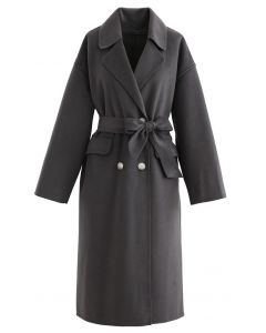 Belted Double-Breasted Wool-Blend Coat in Smoke