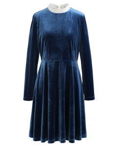 Sweet Neckline Velvet Flare Kleid in Pfau