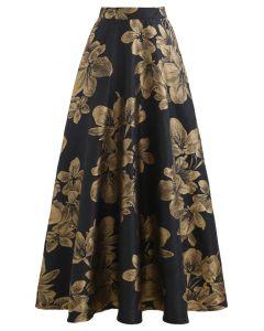 Golden Dahlia Blossom Jacquard Maxi Skirt