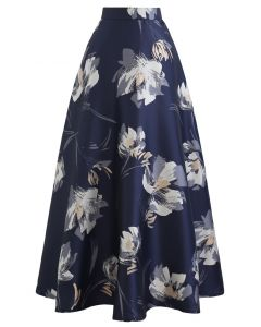 Blooming Floral Jacquard Maxi Skirt in Navy