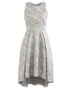 Glitzy Lines Embossed Jacquard Waterfall Dress