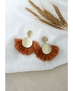 Tassel Gold Round Earrings in Caramel