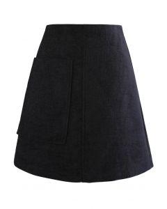 Patched Pocket Shimmer Tweed Minirock in Schwarz