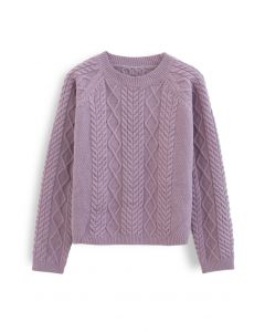 Braid Texture Cropped Knit Sweater aus Lavendel