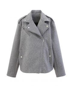 Moto-Jacke mit Reißverschluss aus Wollmischung in Grau