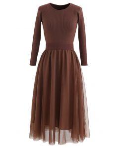 Elasticated Waist Knit Splice Mesh Kleid in Braun
