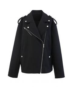 Moto-Jacke mit Reißverschluss aus Wollmischung in Schwarz
