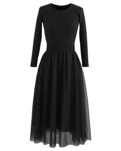 Elasticated Waist Knit Splice Mesh Kleid in Schwarz
