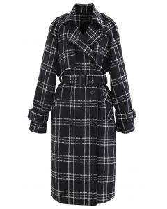 Black Check Belted Wollmischung Longline Coat
