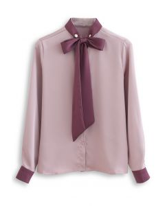 Bow Tie Neck Satin Button Down Shirt in Pink