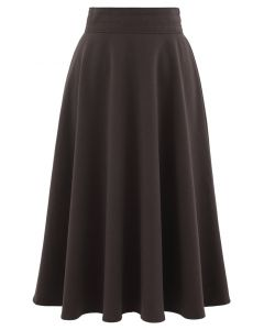 High Waist A-Line Flare Midi Skirt in Brown