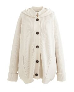 Elfenbein Soft Touch Buttoned Hooded Cardigan
