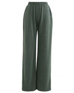 Olive Slouchy Pockets Hosen mit weitem Bein