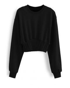 Kurzes gepolstertes Schulter-Sweatshirt in Schwarz