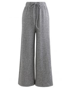 Soft Touch Drawstring Strickhose in Grau