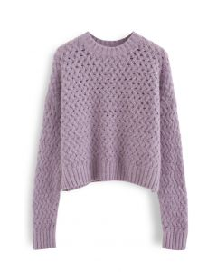 Crisscross Fuzzy Round Neck Sweater in Flieder