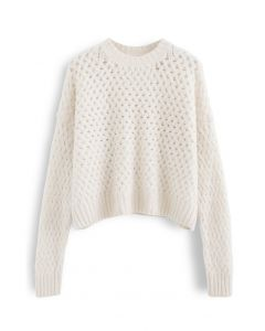 Crisscross Fuzzy Round Neck Sweater in Creme