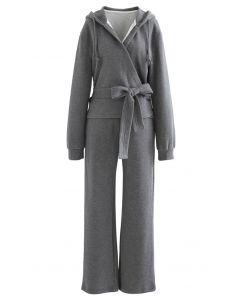 Wickeln Sie Bowknot Hoodie und Straight Leg Pants Set in Grau
