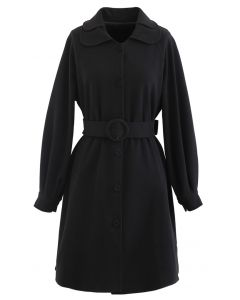 Collared Belted Button Down Mantel Kleid in Schwarz