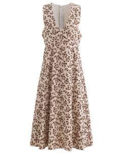 Geprägtes ärmelloses Kleid mit Floret-V-Ausschnitt aus Sand