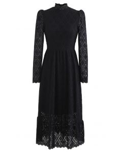 Fuzzy Full Floret Lace Mock Neck Kleid in Schwarz