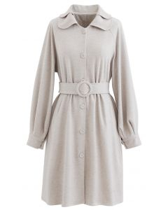 Collared Belted Button Down Coat Kleid aus Leinen