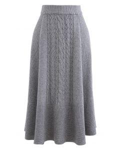 Braid Texture Soft Strick Midirock in A-Linie in Grau