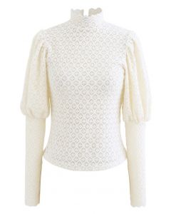 Full Lace Puff Sleeves Top in Creme