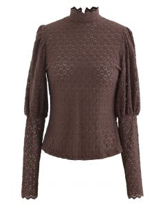 Full Lace Puff Sleeves Top in Braun
