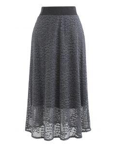 Floret Lace Knit Wende Midirock in Grau