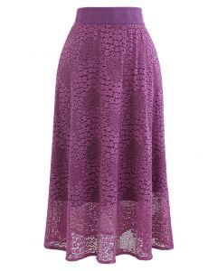 Floret Lace Knit Wende Midirock in Magenta