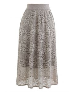 Floret Lace Knit Wende Midirock in Taupe