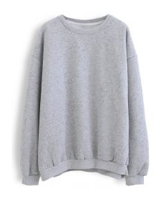 Geflecktes Fleece-Sweatshirt in Grau