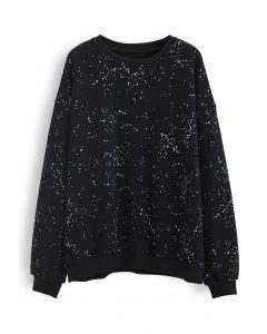 Geflecktes Fleece-Sweatshirt in Schwarz